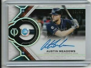 AUSTIN MEADOWS 2021 Topps Tribute Baseball Jersey Patch Auto 18/50 - RAYS (D)