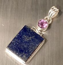"Gorgeous Blue Lapis & Genuine Amethyst Solid Sterling Silver Pendant 8g 1.75 "" L"