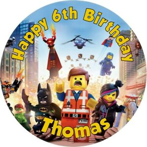 """Lego Movie personalised Edible icing sheet 7.5"""" Round cake topper Birthday"""
