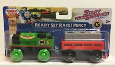 Thomas & Friends Wooden Railway Ready Set Race! Percy With Lighted Car , NEW
