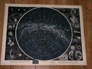 1930 ORIGINAL VINTAGE MAP OF NORTHERN SKY HEAVENS STARS CELESTIAL ASTRONOMY