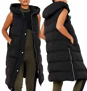 Womens Gilet Bodywarmer Jacket Quilted Longline Waistcoat Size 16 14 12 10 8