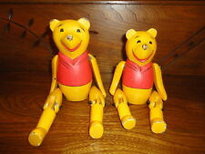 Antique Vintage Wooden Winnie the Pooh 2 Jointed Puppets Hand Painted