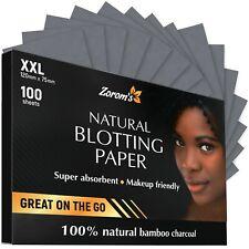 Zorom'S Natural Blotting Paper (100 Xxl Sheets) - Bamboo Charcoal - Brand New