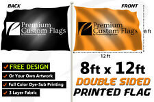 8'x12' Full Color Double Sided Custom Flag with Grommets