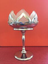 Vintage Farber Bros. Art Deco Chrome & Frosted Glass Compote