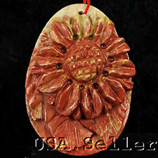 L@@K! Natural Picasso Jasper Carved Sunflower Pendant Bead