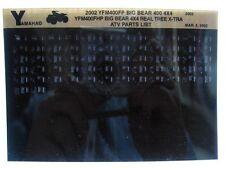 Yamaha YFM400 2002 Big Bear 4x4 YFM400FP FHP RealTree Part Manual Microfiche s29