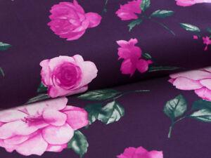 0,5 m Shabby Chic  Rosen Stoff  Baumwolle auf Aubergine Farbe, 100%  Meterware