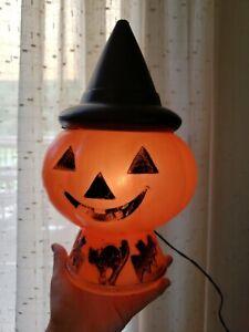Vtg  Halloween Blow Mold Jack O Lantern Pumpkin Wearing Witch Hat Bat Cat Base