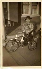 Vintage Antique Photograph Little Boy Wearing Cowboy Outfit on His Tricycle Bike