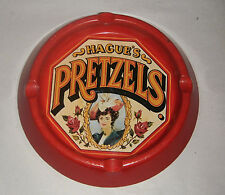 HAGUES PRETZELS VINTAGE TIN RED ASH TRAY TIN MADE IN ENGLAND FOR CASE NY WOMEN