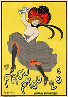 french Le Frou Frou yellow vintage  A1 SIZE PRINT CANVAS