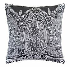 """PAISLEY WOVEN COTTON BLEND EMBROIDERED THICK GREY CUSHION COVER 20"""" - 50CM"""