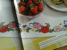 cross stitch chart FLORAL TABLE RUNNER by Lesley Teare