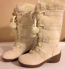 Sporto Meagan Winter White Leather Wedge Heel Boots Faux Fur Pom Poms 6M