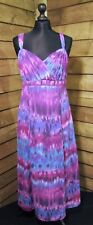 M&S Per Una Patterned Calf Length Summer Dress Purple/Blue 12UK Regular