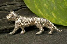 Plastisch Wirkende Tierische Silber Brosche Tiger Raubtier Großkatze Tier Katze