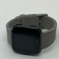 Fitbit Versa FB504SRGY Smart Watch Grey- Heart Rate large green bands