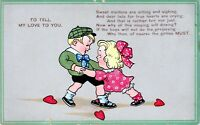 1910 Sadie Hawkins Themed Unused Vintage Valentines Day Postcard BD