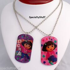 "2 NEW DORA THE EXPLORER 18"" METAL DOGTAG NECKLACE NECKLACES NICKELODEON 3+ (OH)"