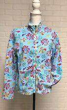 Womens Fresh Produce Floral Zip Sweatshirt Jacket Pockets Aqua Sz Medium Pretty!