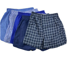 Fruit of the Loom Boys Blue Plaid Fly Front  Tag Free Boxer Shorts 5 Pack XL