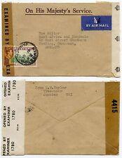 Jamaica Segunda Guerra Mundial doble censurado Oficial Envolvente ohmios correo aéreo 1/GB-a