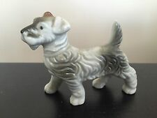 Fine Vintage Japanese Porcelain Ceramic Gray Terrier Dog Animal Figurine Art Nr