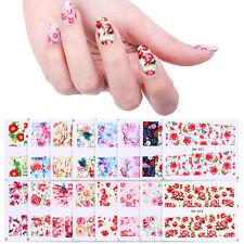 48 Patterns Flower Water Decals Nail Art Transfer Stickers Rose Sakura Butterfly