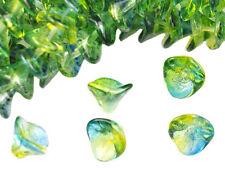 12 Blue / Yellow Three Petal Glass Flower Beads 12MM