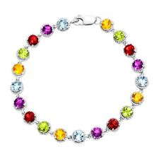 9 1/2 ct Natural Multi-Stone Tennis Bracelet in Sterling Silver