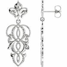 Decorative Dangle Earrings In 14K White gold