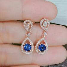 Natural Diamond Round Blue Sapphire Dangle Earrings Solid 14K Rose Gold Jewelry