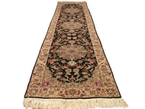 2.5 x 10 Black carpet runners for sale Traditional 31 x 123 in Handmade Carpt