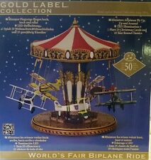 MR. CHRISTMAS Gold Label World's Fair Biplane Ride Music Box 50 Songs New in Box