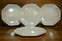 "SET OF 4 - ARCOROC ARCOPAL FRANCE - 7 1/2"" WHITE OCTIME ROUNDED SALAD PLATES"