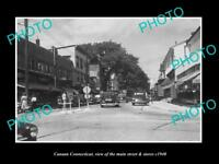 OLD LARGE HISTORIC PHOTO OF CANAAN CONNECTICUT, THE MAIN STREET & STORES c1940