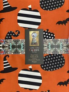 """Cynthia Rowley Halloween Orange Witch's Hat  Tablecloth 60 X 104"""" Indoor Outdoor"""