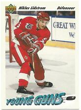 1991-92 NIKLAS LIDSTROM RC #587 YOUNG GUNS FRENCH UPPER DECK ROOKIE RED WINGS