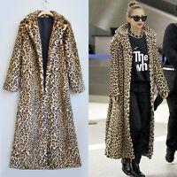 Women Leopard Print Faux Fur Wollens Long Sleeve Coat Jacket Overcoat Outwear W
