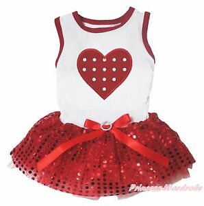 Valentine Dots Heart White Top Red Bling Sequins Skirt Pet Dog Puppy Cat Dress