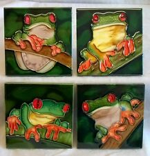 YH ARTS FOUR PIECE PORCELAIN COASTERS OR DISPLAY TILE PLAQUE SET - TREE FROG 553