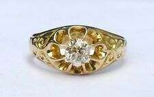 18ct Gold Victorian Ornate Yellow Gold 1/3 Carat Approx Diamond Ring Size L