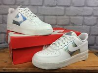NIKE LADIES UK 5 EU 38.5 AIR FORCE 1 LOW WHITE IRIDESCENT TRAINERS T