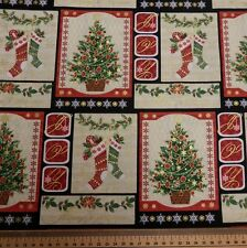 Christmas Tree Picture Fabric-Christmas Cotton Fabric 100% Cotton Xmas Material
