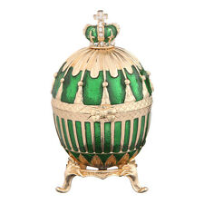 Decorative Faberge Egg Trinket Jewel Box Russian Emperor Crown 3.3'' 8.5cm green