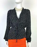 L'Agence New 2 US 38 IT XS Black Silk Wrap Dress Shirt Top Blouse Runway Auth