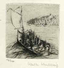 Brillo solar, barco de vela & montañas Karl Max Schultheiss autografiado origradierung