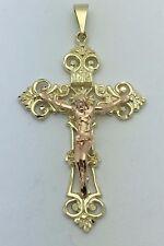 10K Two Tone Gold CROSS Jesus Christ INRI Filigree Crucifix Charm Pendant 9.9 g